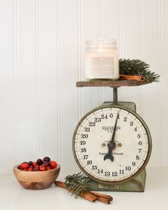 Farmhouse style kitchen decor. A cute vintage scale decorated for Christmas!