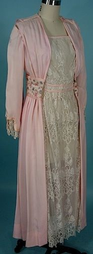 1909-1910 Edwardian Dress of Pink Silk and White Lace with Embroidered and Silk Taffeta Waistband.