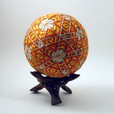 Japanese Temari Ball - Yuki, Snowflake, Design (Red/orange) by NavAndFets on Etsy https://www.etsy.com/listing/204213108/japanese-temari-ball-yuki-snowflake