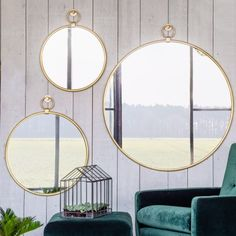 Antiqued Gold Pendant Mirrors | Mirrors | Graham and Green