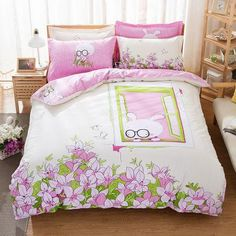 Modern Cool Fashion Queen Size Cotton 4-PC Toddler/Teens Bed Set