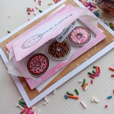 Card by Tina Smith (060417) using Lawn Fawn (dies) Lift the Flap, Small Stitched 4 Bar Rectangles; (stamps) Donut Worry [flap]