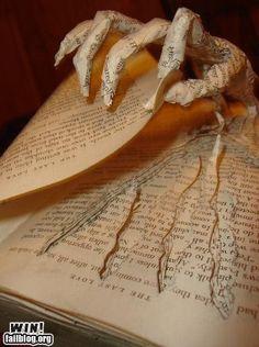 A bit of creepy book art for Halloween. Halloween Prop, Holidays Halloween, Halloween Crafts, Happy Halloween, Halloween Decorations, Samhain Decorations, Haunted Halloween, Halloween Books, Halloween Ideas