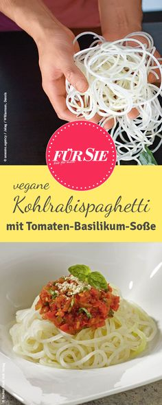 Die Kohlrabispaghetti sind eine tolle vegane Alternative zu den klassischen Eiernudeln. Das Rezept stammt von Attila Hildmann.