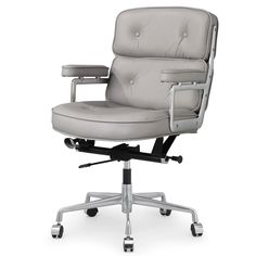 Seal the deal in an office chair that works just as hard as you: the M340 leather executive office chair delivers big with top-grain Italian leather in chic grey. Button tufting and a big, bold design nods to the provocative style of the 1960s. Aluminum casters glide smoothly, so you can swivel, roll and rule with ease