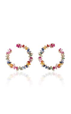 Rainbow Baguette Firework Hoops by SUZANNE KALAN for Preorder on Moda Operandi