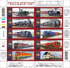 South African Railways 150 Anniversary - Stamp Issue on 25 June 2010 South African Railways, Train Illustration, Postage Stamp Collection, Steam Locomotive, African History, Stamp Collecting, Model Trains, Poster, Postage Stamps