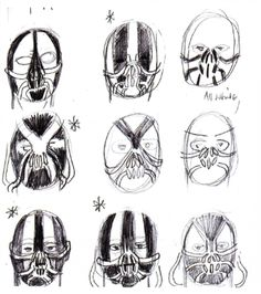 Lindy Hemming and the design team went through dozens of possible mask options for Bane before arriving at the final look of the mask