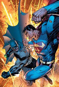 Batman & Superman by Jim Lee – Colors by Alex Sinclair. Mundo Superman, Batman Vs Superman, Batman Art, Batman Robin, Comic Art, Comic Books Art, Book Art, Dc Comics Art, Marvel Dc Comics
