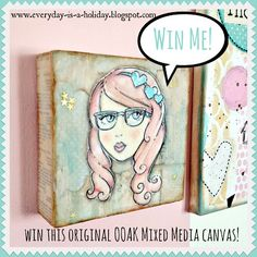 One lucky Everyday is a Holiday reader will win this One Of A Kind mixed media canvas! Pop over to the blog to enter to win! #art #mixedmedia #giveaway #pinkhair
