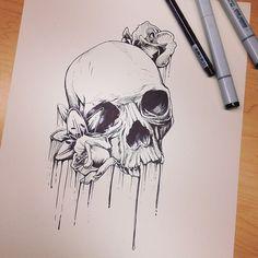Metal Mulisha Maidens art by Bre. Skull. Flowers