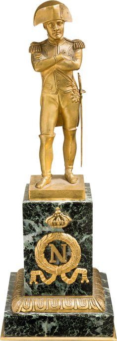 Gilt Bronze Statuette of Napoleon Bonaparte On a Decorated Marble Base
