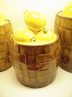 Gorgeous Lemon Kitchen Canisters Vintage Set By Vintagerelief 40 00 Decor Shelf