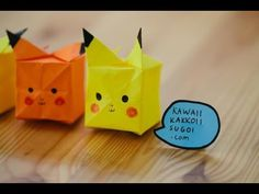 Pikachu Origami.  What you will need: - A square, yellow origami paper - Black & Red Sharpie/Crayons/Color Pencils Extra: You can take a red-orange paper and fold the exact same way for Raichu Origami! ;) | For more DIY paper craft ideas, visit our Pinterest Board: https://www.pinterest.com/makerskit/papercraft-diy-ideas/