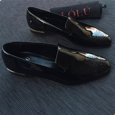 Plain Black Patent Slippers with GOLD Bar