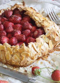 Paleo Strawberry Almond Galette. This rustic pie is super simple, healthy and a festive way to celebrate Valentine's Day.