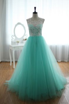 gorgeous, just gorgeous - love it (the lace overlay is so pretty over this blue/green) Lace Tulle Bridesmaid Dress Prom Dress Blue Tulle Ball Gown Dress