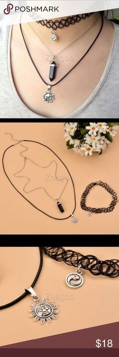 """✨Women Layer Choker 3pcs Set 100% Brand New. Style: Fashion Necklace Type: Pendant necklaces Chain type: Link Chain Metals Type: Zinc Alloy Material: Alloy Color: Silver and Black Silver Chain Length: 58cm(22.6"""")(with 6 cm adjustable length) Black Chain Length: 70cm(27.3"""")(with 6.5 cm adjustable length) Chain Type: Link Chain It's fashionable, retro, creative, is a  very useful accessory brighten up your look, also as a gift. Jewelry Necklaces"""