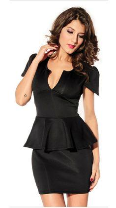 Black Short Sleeve V Neck Ruffle Party Dress - Fashion Clothing 79c5c2416
