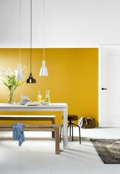 89 reference of Kitchen Dining Room Combo apartment Accent walls Yellow Accent Walls, Yellow Front Doors, Yellow Interior, Living Room Paint, Minimalist Living, Minimalist Layout, Modern Minimalist, Room Colors, Living Room Designs