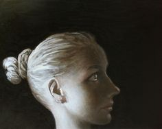 """Saatchi Art Artist Ilir Pojani; Painting, """"Young woman in profile 4. SOLD"""" #art"""