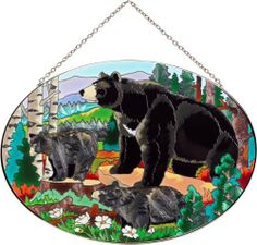 Joan Baker Designs Black Bears Glass Art Panel by Joan Baker Designs. $41.76. A mountain cabin favorite. 100-percent lead free. Bronzed metal frame with chain. Celebrate the great outdoors. Hand-painted art glass window panel. A mama bear and her cubs ramble through the woodlands on this hand-painted art glass panel. Perfect for those who love the great outdoors. For more than 40 years, Joan Baker Designs' talented artisans have created stunning decorative art g...