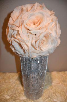 Elegant Wedding Peach Blush hanging flower balls by KimeeKouture
