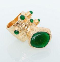 Кольцо YSL Yves Saint Laurent золото с зеленым #19015