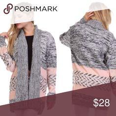 GORGEOUS GRAY & PINK BOHEMIAN CARFIGAN💕 Perfect Winter Cardigan💕 Sweaters