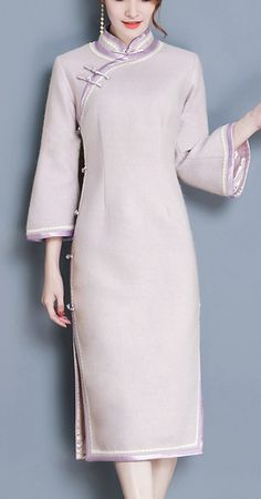 Retro Stand Collar Long Sleeve Pure Color Cheongsam Dress