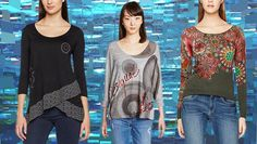 #Desigual Shirt - Modelle Lorena, Tina, Maldiva. Muster: geometrisch, floral, ethnisch, exotisch und Mandala, schwarz, grau, grün.