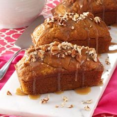Mini Pumpkin Cakes with Praline Sauce Recipe from Taste of Home -- shared by Diane Roark of Conway, Arkansas