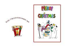 free printable Snowmen Merry Christmas card