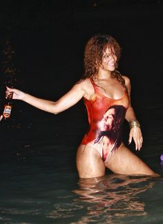 Rihanna Sexy in a Bob Marley swimsuit candids in Barbados