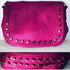 Fuchsia purse Vegan leather cross body purse with gold rivet design on bottom of purse. Color is more fuchsia than pink. Urban Expressions Bags Crossbody Bags