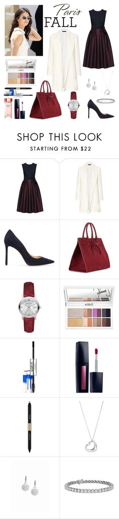 """Untitled #132"" by hebah911 ❤ liked on Polyvore featuring The Row, Jimmy Choo, Mansur Gavriel, Burberry, Estée Lauder, Tiffany & Co., Snö Of Sweden and Blue Nile"