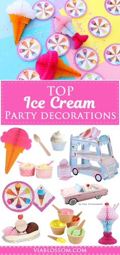 Top Ice Cream Party Decorations for the sweet Ice Cream Social Party! All the Ice Cream Party ideas you will need! Ice Cream Party, Ice Cream Theme, Ice Cream Decorations, Kids Party Decorations, Party Ideas, Disney Cars Party, Invitation, Party Supply Store, Online Party Supplies