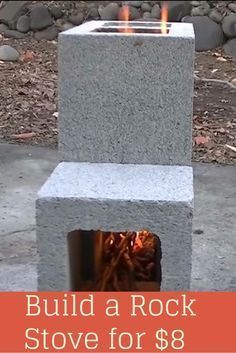 Simple build for an efficient Cinder Block Rocket Stove. These burn hotter and m… Simple build for an efficient Cinder Block Rocket Stove. These burn hotter and more efficiently than a camp fire and can use just about anything as fuel. Camping Survival, Survival Tips, Survival Skills, Camping Hacks, Bushcraft Camping, Camping Stuff, Emergency Preparedness, Survival Stove, Bushcraft Kit