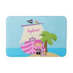 Pirate Ship Girl Bath Mat - diy cyo personalize design idea new special custom