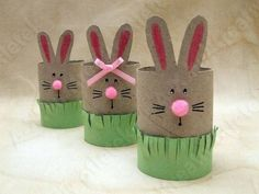 Adorable bunny in the grass! Made using a cardboard tube. Earth-friendly, too!