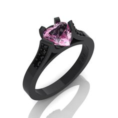 Gorgeous 14K Black Gold 1.0 Ct Heart Light Pink by DesignMasters, $1279.00