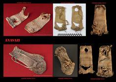 Gli Anasazi non conoscevano i mocassini, almeno nei primi periodi, questi furono introdotti molto probabilmente dai Na-Denè meridionali. Quindi utilizzavano come calzature, al pari di altri popoli del sudovest, dei sandali. Alcuni modelli erano particolarmente raffinati, realizzati con fibre di yucca colorate intrecciate in modo da formare pregevoli disegni.