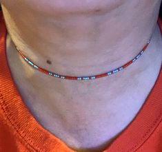 Turquoise Seed Bead Choker Necklace Wrap Memory Wire Boho Bohemian Statement