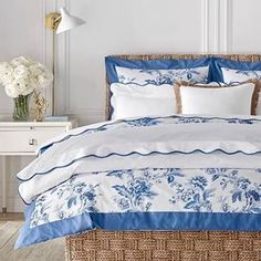 Hamptons-inspired blue and white bedroom with florals and a scalloped edge. See more from the Aerin Lauder summer collection for Williams Sonoma Home. French Country Bedrooms, French Country Decorating, Hotel Collection Bedding, World Decor, Girl Bedroom Designs, Bedroom Ideas, Upholstered Beds, White Rooms, Luxury Bedding