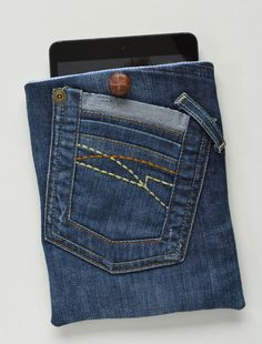 Denim Tablet Case Tutorial | Take your old jeans and turn them into a brand new case for your iPad with this sewing tutorial!