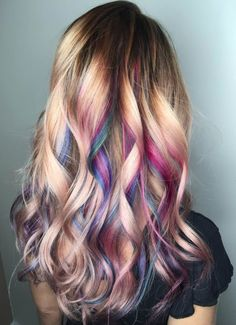 For a professional, yet fun look- all of the top layer and bottom are natural so that all of the color is hidden- when hair is curled into spirals, it lifts the colors to the top :) Ombre Pastel Hair, Bob Pastel, Grunge Pastel, Purple Hair, Kids Hair Color, Hair Dye Colors, Cool Hair Color, Hair Colour, Style Rihanna
