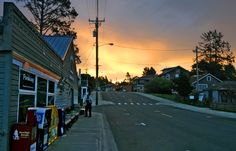 Manzanita, Oregon main street.  Directly across the street is one of the best places to buy coffee before walking on the beach.