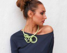 Asymmetrical Textile Statement Necklace Gladiola by fiber2love