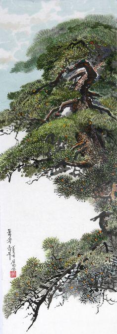 (North Korea) A Pine tree by Kim Man-seob (1941-  )