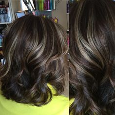 Medium brown hair color with light beige highlights on the cool side of blonde. By Denise Suttlemyre/Xquisite Salon & Spa